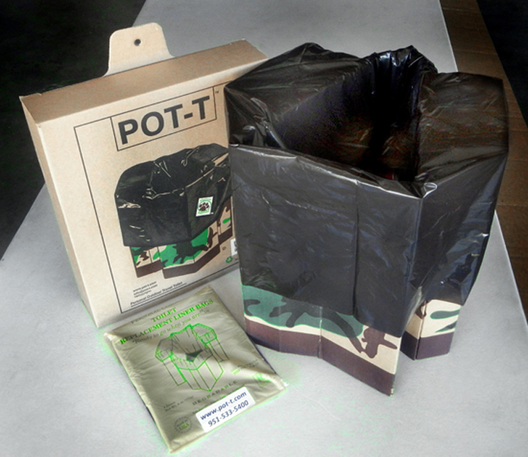 POT-T Unit with a liner, alongside its cardboard shipper and a pack of one dozen liner bags. All of these items are placed on a white table.